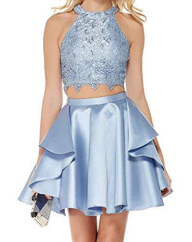 Royaldress Zweiteilig Spitze Satin Abendkleider Ballkleider Cocktailkleider Partykleider Mini Sexy Kurz Kleider-36 Hell Blau