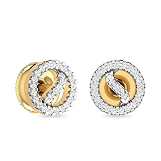 PC Jeweller The Walda 18KT Yellow Gold and Diamond Stud Earrings for Women