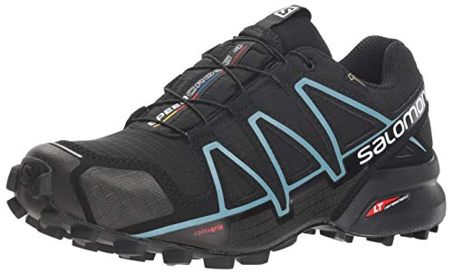 Salomon Damen Speedcross 4 GTX, Trailrunning-Schuhe, Wasserdicht, schwarz (black / black / metallic bubble blue), Größe: 42