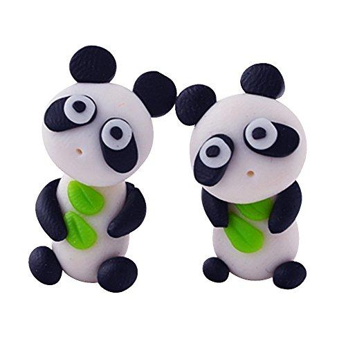 Merssavo Pendientes Animales Estereoscópicos Lindos 3D de la Arcilla del Polímero del Panda de los Pendientes