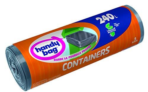 Handy Bag 1 Rouleau de 5 Sacs Poubelle 240 L, Pour les Containers, Largeurs Adaptée, Résistant, Anti-Fuites, 114 x 140 cm, Gris Foncé, Opaque
