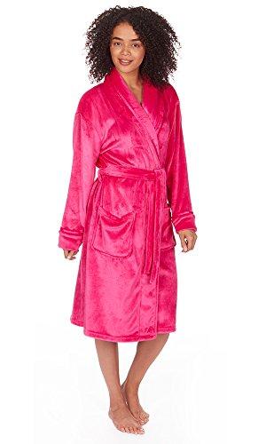 Donna ultra-morbido vestaglia in pile accappatoio accappatoio morbido, misura 8–18 Hot Pink Shawl Collar Style