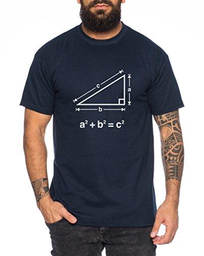Satz des Pythagoras Nerd Herren T-Shirt in verschiedenen Farben Dunkel Blau