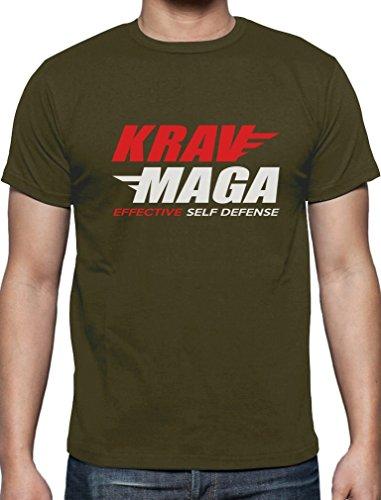 Geschenkidee - Krav Maga Effective Self Defense T-Shirt Olivgrün