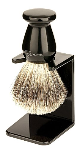 Edwin Jagger 1EJ946SDS Traditional English Best Badger Hair Shaving Brush Faux Ebony Medium With Drip Stand, Black, Medium -