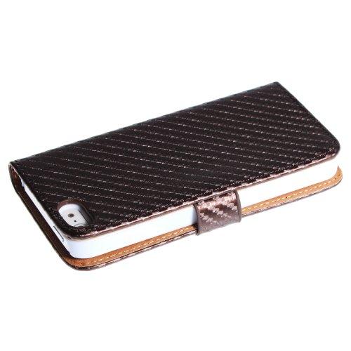 wortek Flip Case im Bookstyle Apple iPhone 5 / iPhone 5S mit Magnetverschluss und Fach für Karten Pink Braun