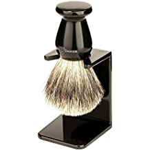 Edwin Jagger 1EJ946SDS Traditional English Best Badger Hair Shaving Brush Faux Ebony Medium With Drip Stand, Black, Medium