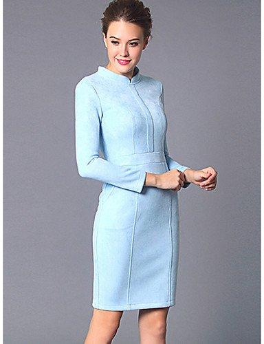 PU&PU Robe Aux femmes Gaine Simple / Street Chic,Couleur Pleine Col en V Mi-long Polyester BLUE-M