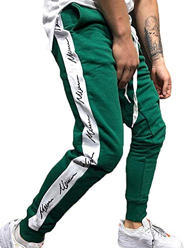 Tomwell Herren Cool Dry Sporthose Slim Fit Jogginghose Grün Medium