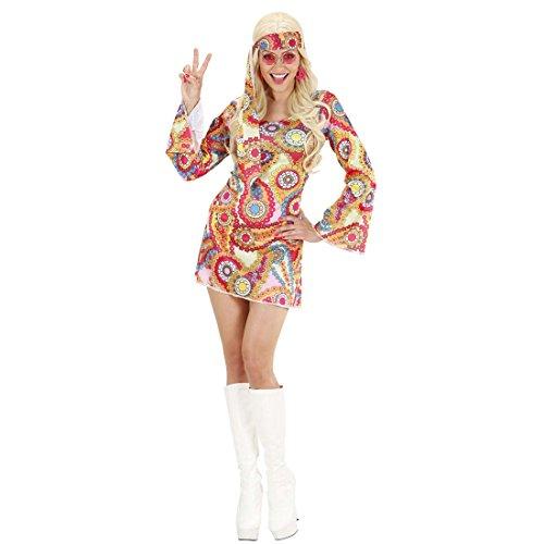 Amakando Hippie Kleid Buntes Tunikakleid XL 46/48 70er Jahre Outfit Flower Power Kostüm Karnevalskostüm Damen Sexy Faschingskostüm Hippiekleid Flowerpower Hippiekostüm