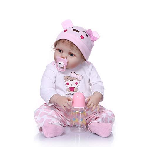 Nicery Reborn Baby-Puppe, Vinyl, 55 cm, magnetischer Mund, lebensecht lebhaft, wasserfest, anatomisch korrekt, für Jungen und Mädchen, Weiß