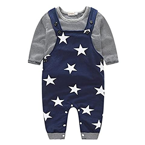 Tonwalk Baby Boys Stripe T-shirt + Strap Bib Pants Outfits Set for 0-24 Month (6-12Month, Navy)