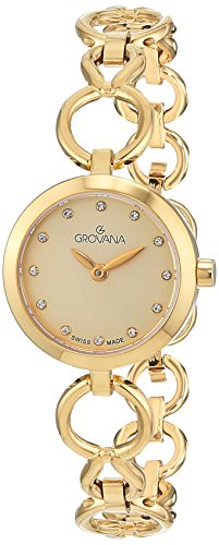 GROVANA 4569.1111 Women's Quartz Swiss Watch with Gold Dial Analogue Display and Gold Plated Stainless Steel Bracelet