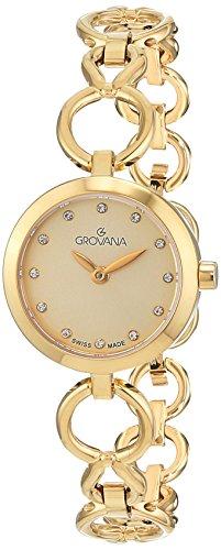 GROVANA 4569.1111 orologio al quarzo da donna, con quadrante dorato, display analogico e cinturino placcato dorato in acciaio inox