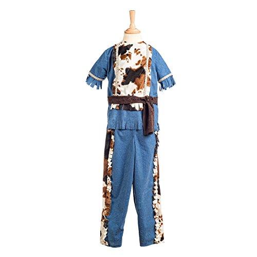 Indianer Kostüm Jungen 3tlg Kinder Kostüm Oberteil, Hose, Stirnband blau - 9/11 Jahre