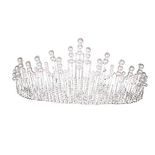 TIREOW_Hochzeit Hochzeit Braut Strass Kristall Tiara Krone Geburtstag Party Prinzessin Diadem,Silber
