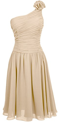 MACloth Women Short Bridesmaid Dress One Shoulder Wedding Cocktail Party Gown Champagne