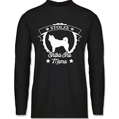 Shirtracer Hunde - Stolze Shiba Inu Mama - Herren Langarmshirt Schwarz