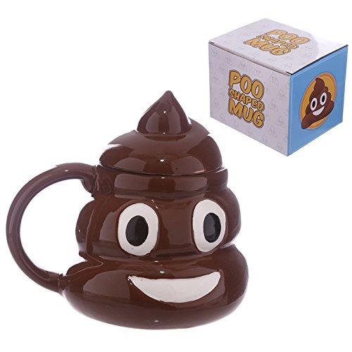 Tasse Emoticon Kacke mit Deckel 450 ml