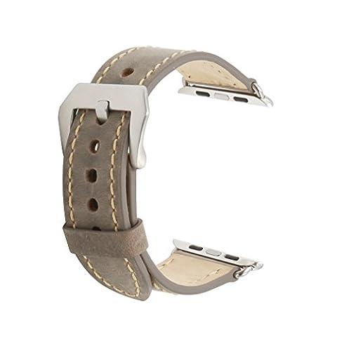omyzam Apple Watch Armband Leder Ersatz Uhrenarmbänder Edelstahl Gürtelschnalle Iwatch Strap 38mm Grau