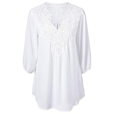 T-shirt Col V Femme - iBaste Femmes Printemps Et¨¦ Douce Dentelle Mousseline