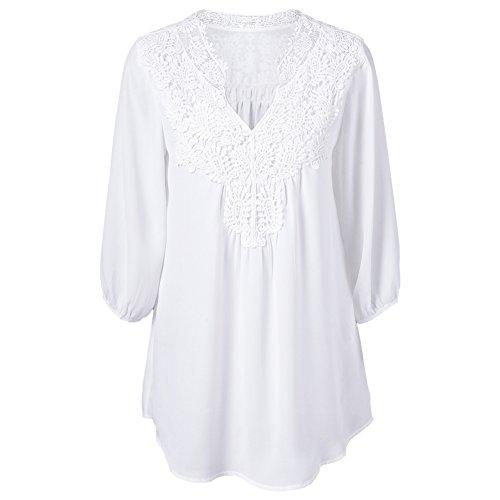 iBaste Plus Size Blusen Damen Lockere Shirt V-Ausschnitt 3/4 Arm Shirt Damen Oberteil mit Spitze Shirt Übergrößen-WT-XL (Tunika Weiße)