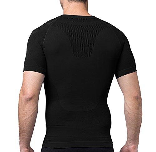 SODACODA Herren Shirt - Sport Kompressions Funktionswäsche - Kurzarm Hemd Schwarz