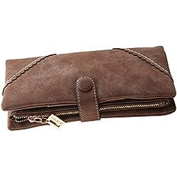 Bcony Moda Mujer Gran capacidad Cartera/Monedero/Billetera/Bolso de la señora/ de cuero larga con el botón y construido en el bolsillo de la moneda,Café marrón