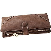Bcony Moda Mujer Gran capacidad Cartera/Monedero/Billetera/Bolso de la señora/ de cuero larga con el botón y construido en el bolsillo de la moneda