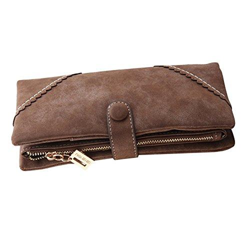Bcony Moda Mujer Gran capacidad Cartera/Monedero/Billetera/Bolso de la señora/de cuero larga con el botón y construido en el bolsillo de la moneda,Café marrón