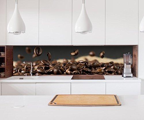 Aufkleber Küchenrückwand Kaffee Samen Kerne Coffee Bohnen Küche Folie selbstklebend Dekofolie Fliesen Möbelfolie Spritzschutz 22A610, Höhe x Länge:60cm x 300cm