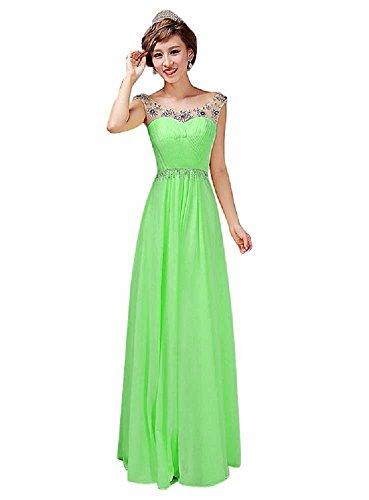 Beauty-Emily -  Vestito  - Moda - Senza maniche  - Donna Verde chiaro