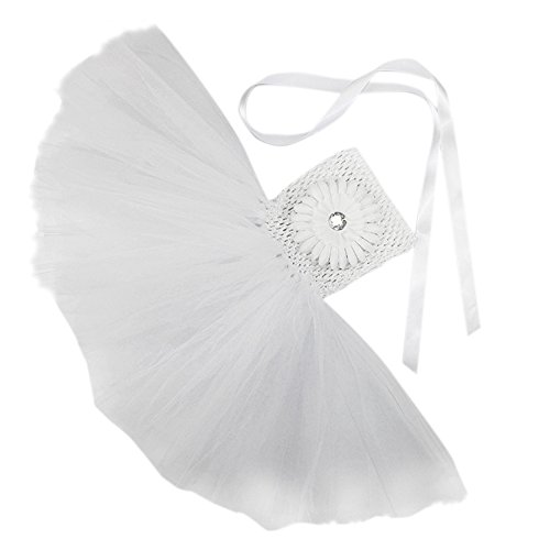 Honeystore Mädchen Spitze Prinzessin Rock Sommer Blumen Kleider für Baby Kleinkinder Kinder 0-2 Jahre alt Medium Weiß mit Chrysantheme