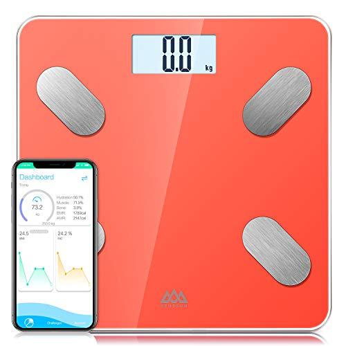 Básculas de baño SENSSUN, analiza la composición corporal, porcentaje de grasa corporal,escala de peso digital precisa,tamaño mini con aplicación para teléfono inteligente(Coral Viviente)