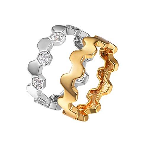 Suplight Damen Ring Set 2Pcs Finger Ring 2 Tone Zirkonia Bandring Nagel Finger Freundschaftsringe Hochzeit Party Ringe, Größe 62 (Ringe Größe Mom 10)