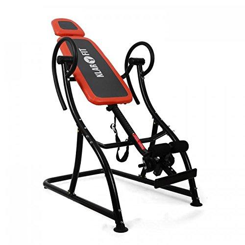 Klarfit Relax Zone Pro Inversionsbank Rücken Hang-Up Rückentrainer zur physiologischen Streckung (bis 150 kg, verstellbar, leichte Montage) weiß-blau