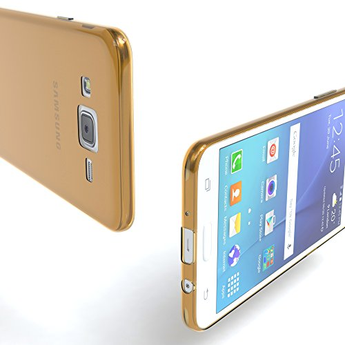 Samsung Galaxy J5 (altes Modell) Hülle - EAZY CASE Ultra Slim Cover Handyhülle - dünne Schutzhülle aus Silikon in Transparent Clear Gold