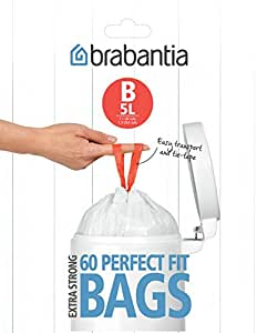 Brabantia Bin Liners, Size B, 5 L - 60 Bags