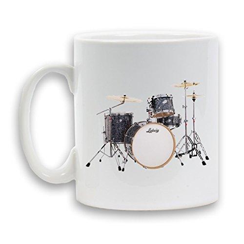 Drum Kit, Ludwig-Tazza in ceramica, colore: grigio, 28 cl, confezione regalo da tè e da caffè a forma di contenitore per bevande, colore: bianco