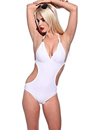 Maillot de bain monokini S shape trikini 1 piece Blanc ete plage M(34-36)/L(38-40)