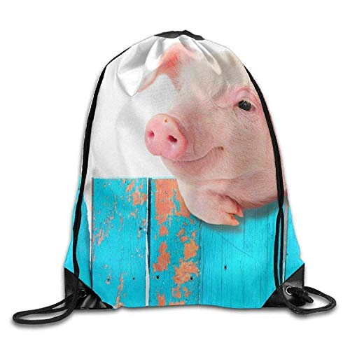 Etryrt Mochilas/Bolsas de Gimnasia,Bolsas de Cuerdas, Funny Pig Hanging On A Fence Print Drawstring Backpack Rucksack Shoulder Bags Gym Bag Sport Bag
