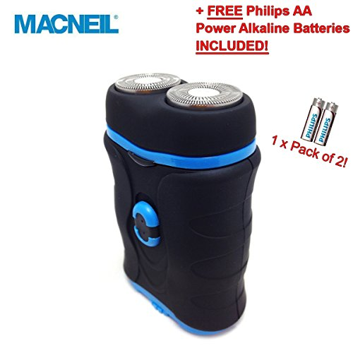 NEW! Macneil Micro Travel Shaver MCNBA737/P, Features: Twin Heads, Lift and Cut Technology, Battery Operated, Pocket Size, Non-slip Finish, Attractive Pacific Blue Colour - Ideal for Taking on Holiday or Birthday and Christmas Gifts! Keep a Close Shave! - Complete with Travel Pouch and Cleaning Brush Accessories! - Includes 2 Year Worldwide Guarantee! by MacNeil -