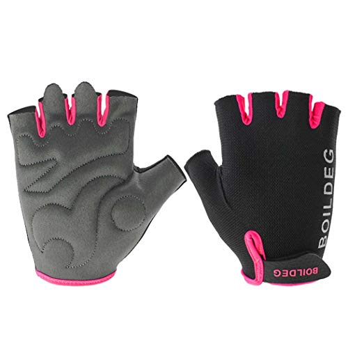 MISS&YG Reiten von kurzen Fingerhandschuhen Outdoor-Sportschuhe Mountainbike-Rennfahrhandschuhe,Rose,M
