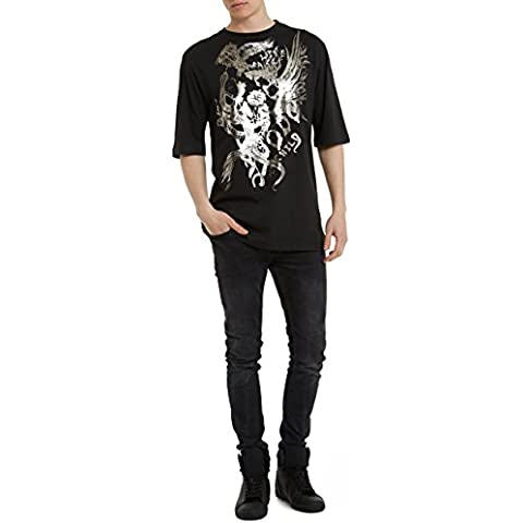 Camisetas para Hombre, T Shirt Cool Fashion Rock, Camiseta Negra con Estampada - EAGLE Designer Vintage Metal Style T-shirt de Algodón, Cuello redondo, Manga corta, Ropa Moda Moderna S M L XL XXL