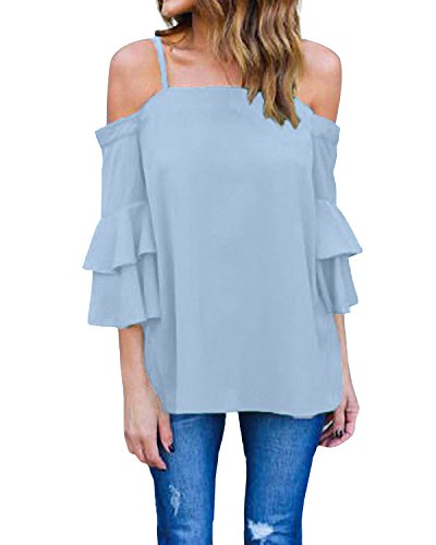 822c2eaecad57b StyleDome Damen Schulterfrei Shirt Cold Shoulder Flounce Oversize Träger  Top Oberteil Hellblau 46