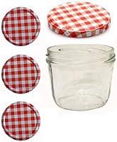 40 Sturzgläser 230 ml Marmeladengläser Einmachgläser Einweckgläser To 82 Rot Karriert Vitrea Rezeptheft