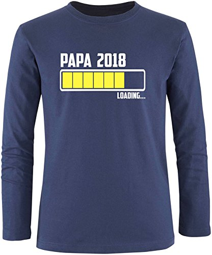 EZYshirt® Papa 2018 Herren Longsleeve Navy/Weiss/Gelb