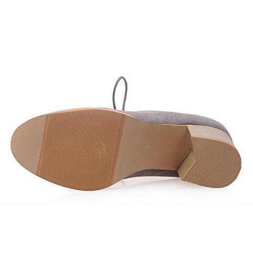 VogueZone009 Femme Suédé Couleur Unie Lacet Rond à Talon Correct Chaussures Légeres Gris