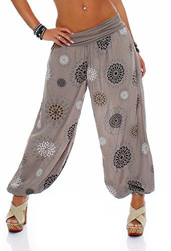ZARMEXX Damen Pumphose Pluderhose Harem-Stil Sommerhose all over Print Freizeithose Aladinhose Hose One Size (Einheitsgröße: Gr. 36-42, cappuccino)
