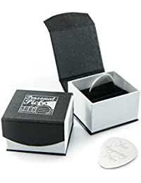 Personalised Silver Guitar Plectrum/Pick with Luxury Magnetic Presentation Box - Engraved - Enter Your Custom Text